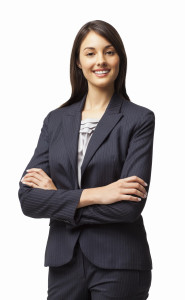 Female Entrepreneur Standing With Arms Crossed - Isolated